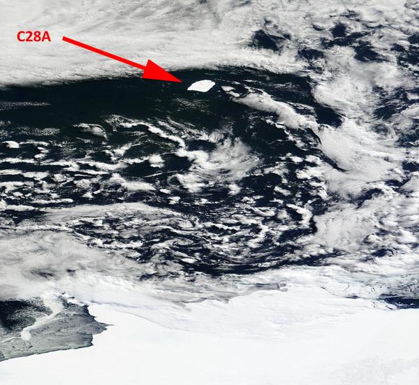 L'iceberg C28A vu par le satellite TERRA de la NASA
