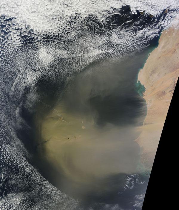 Transport de sable d'Afrique en Amérique du sud