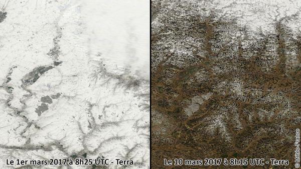 Fonte des neiges et apparitions de motifs au sol