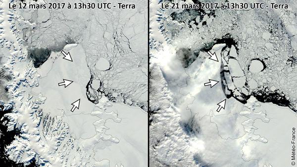Détachement d'icebergs le long des côtes de l'Antarctique