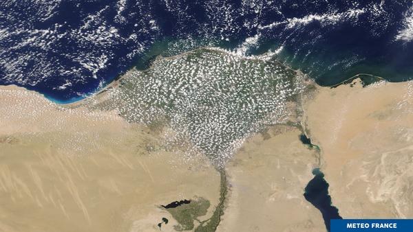 Les cumulus envahissent le delta du Nil