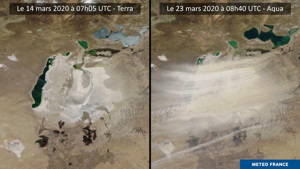 Tempête de sable au-dessus de la mer d'Aral